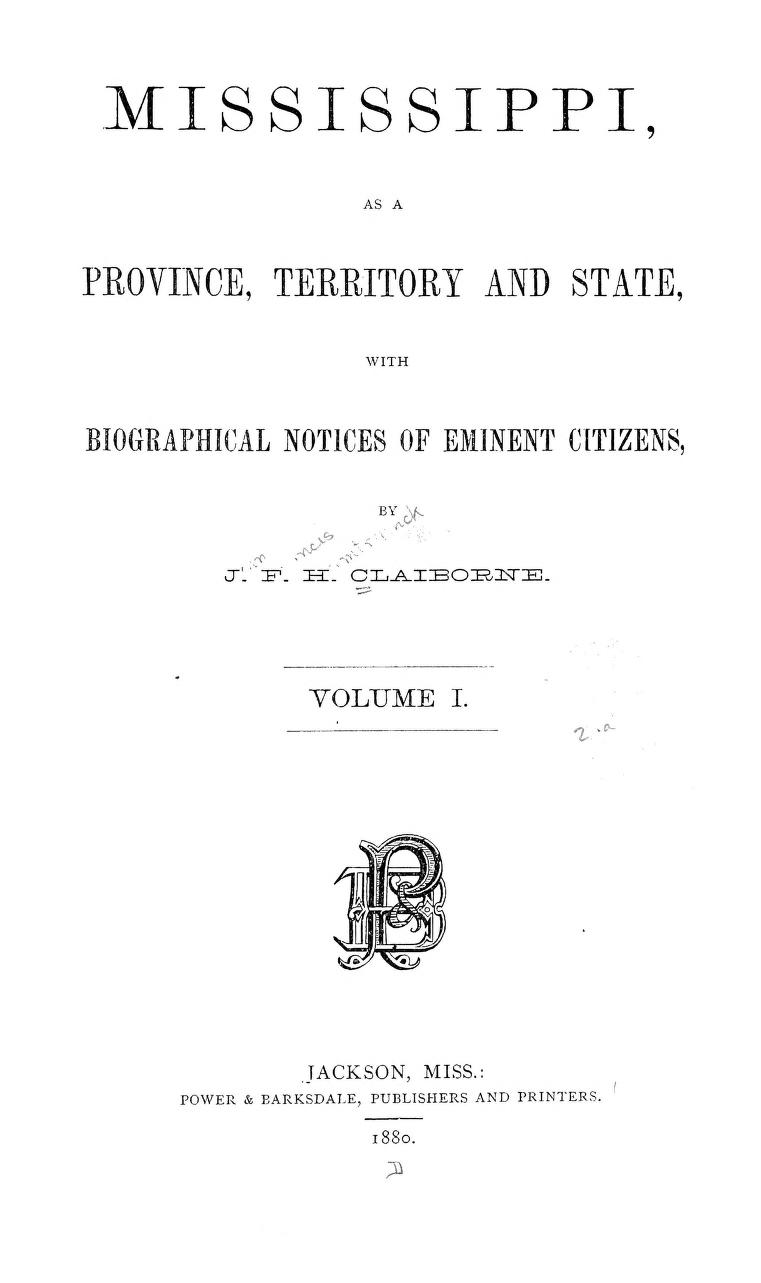 Mississippi, as a province, territory, and stateOn openlibrary.org