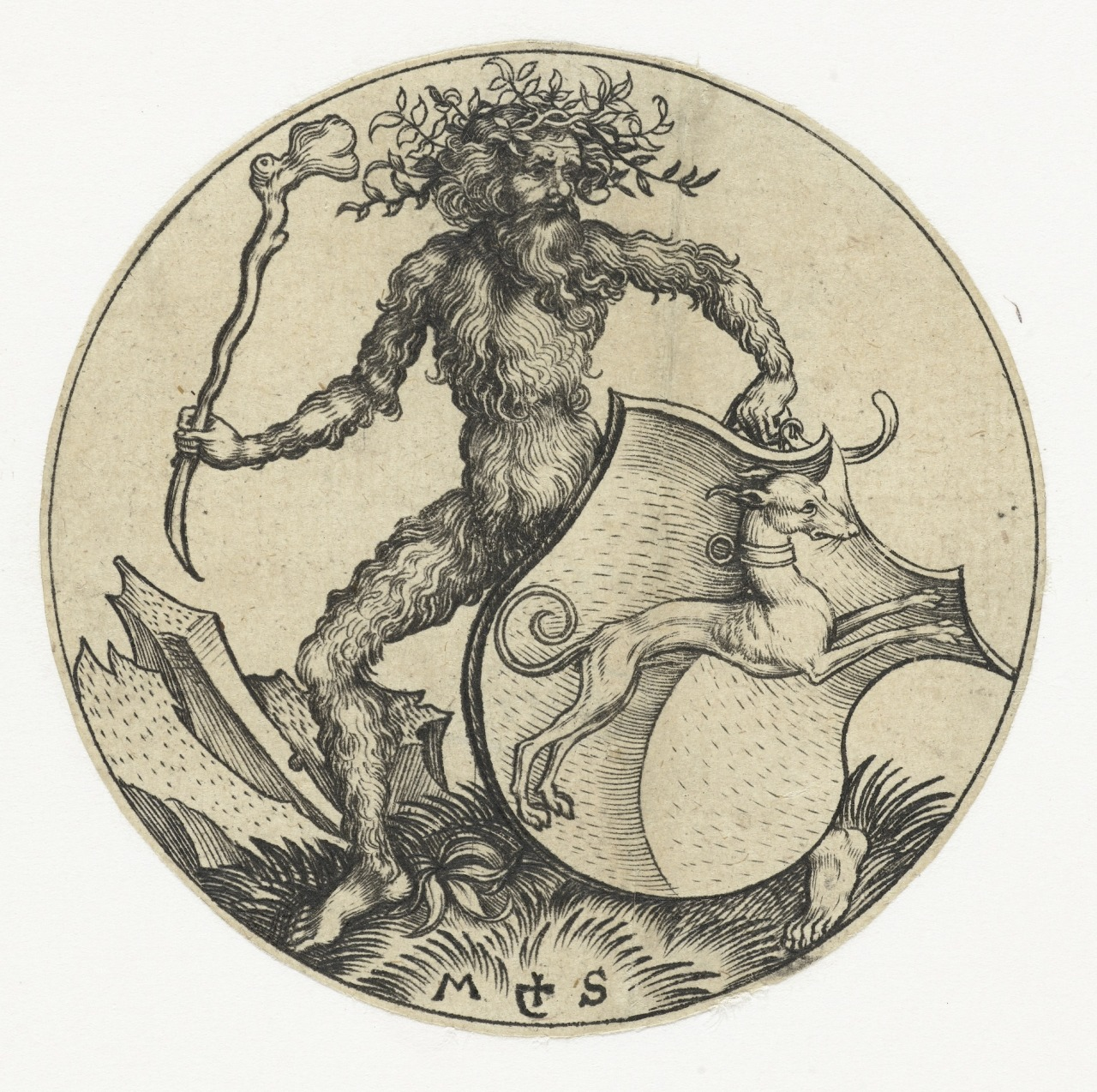 Martin-Schongauer-Coat-of-arms-with-a-Dog-Held-by-a-Woodwose-with-a-Club.