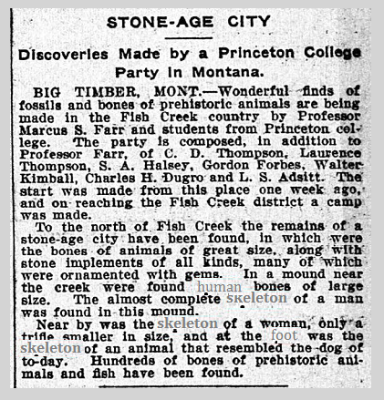 Princeton College Party in Montana per Minneapolis 1903 Newspaper.