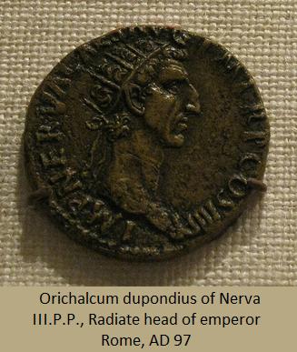 Orichalcum dupondius of Nerva